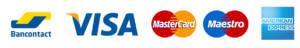 paiement en liquide ou en CB, Bancontact, Maestro, Visa, MasterCard, American Express